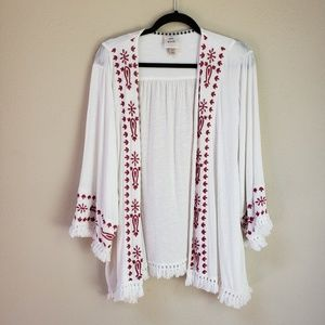 [Knox Rose] White Kimono Red Embroidery + Fringe